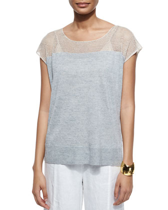 Linen Delave Mesh-Yoke Top, Women's