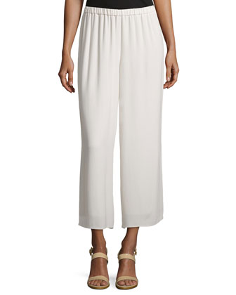 Wide-Leg Georgette Cropped Pants, Bone