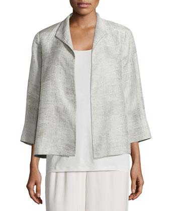 Linen Jacquard Jacket, Silk Camisole, Silk Parallelogram Scarf & Wide-Leg ...