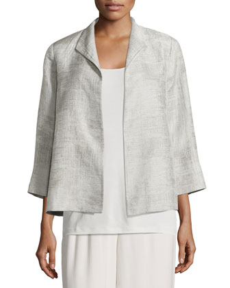 Linen Jacquard Jacket & Wide-Leg Georgette Cropped Pants, Petite