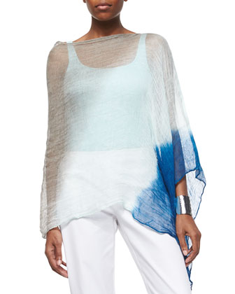 Hand-Dyed Watercolor Linen Poncho, Slim Tank & Organic Stretch Twill Slim ...