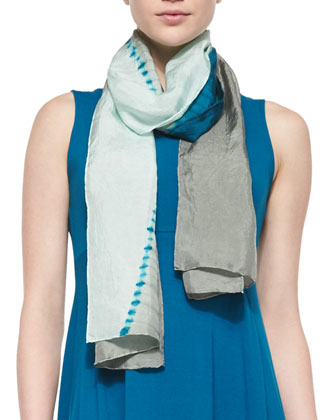 Sleeveless Jersey Arched-Hem Dress & Shibori Crossing Silk Scarf, Petite