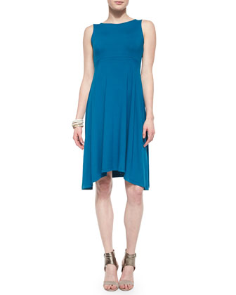 Sleeveless Jersey Arched-Hem Dress & Shibori Crossing Silk Scarf