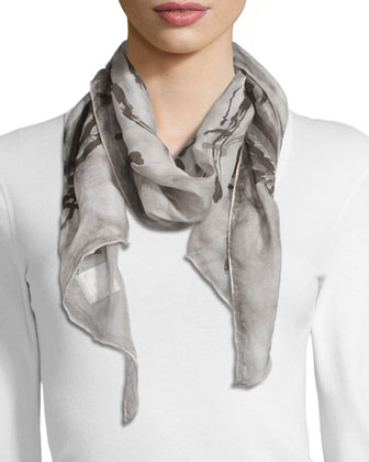 Sleeveless A-line Dress & Maltinto Silk Parallelogram Scarf