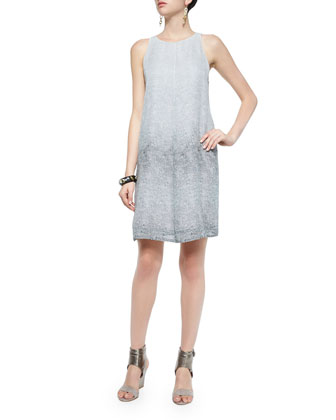 Halter Ombred Thumbprint Silk Dress, Graphite