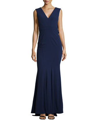 V-Neck Mermaid Gown, Navy
