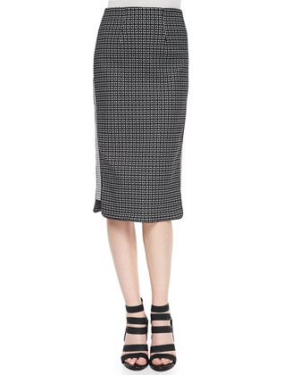 Straight Patterned Skirt with Side Insets