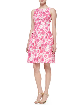 Sleeveless Floral Jacquard Fit & Flare Cocktail Dress