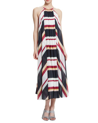 Riley Striped Halter Midi Dress