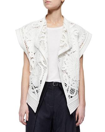 Mateo Rib-Trim Crochet Jacket