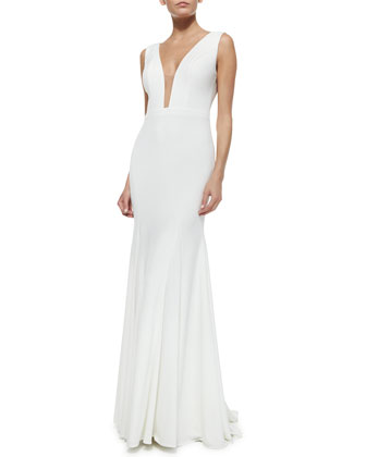 Plunging Illusion-Neck Godet Gown