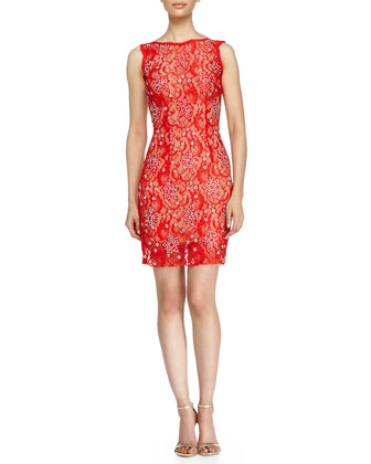 Sleeveless Lace Beaded Cocktail Dress