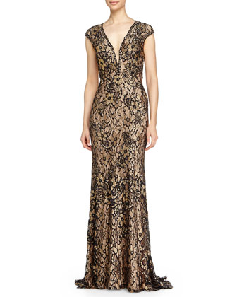 V-Neck Open-Back Floral Lace Gown