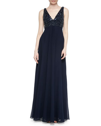 Sleeveless V-Neck Beaded Bodice Gown