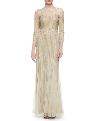 3/4-Sleeve Sequined Column Gown