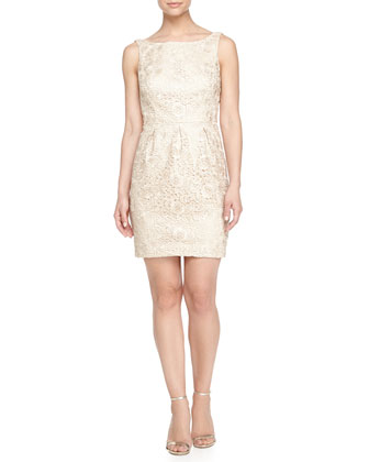 Sleeveless Jacquard Sheath Cocktail Dress, Champagne