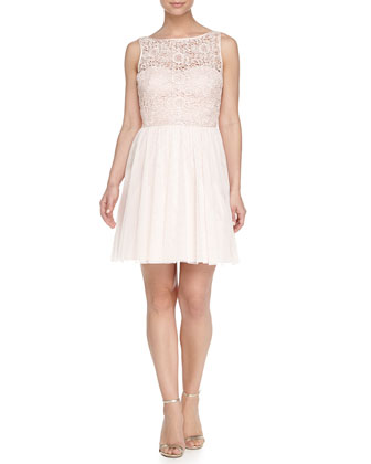 Lace Bodice Tulle Skirt Cocktail Dress, Petal