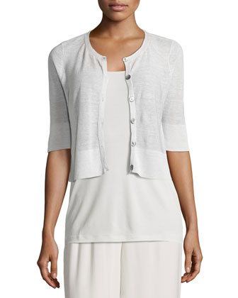 Half-Sleeve Button-Front Short Cardigan, Petite