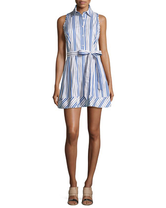 Stripe Sleeveless Shirtdress, Blue/White