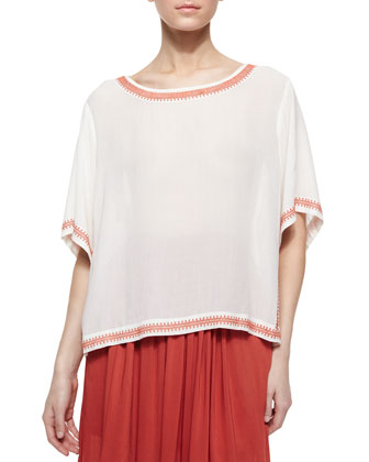 Short-Sleeve Peasant Blouse with Embroidered Trim