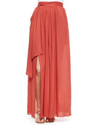 Short-Sleeve Peasant Blouse with Embroidered Trim & Tie-Waist Maxi Skirt