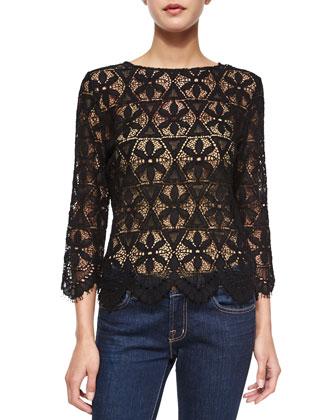Le Cropped Lace Shirt, Noir
