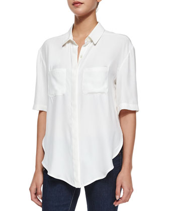 Le Elbow Button Shirt, Blanc