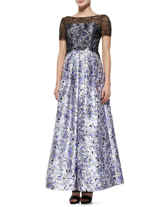 Short-Sleeve Lace-Bodice Floral Ball Gown