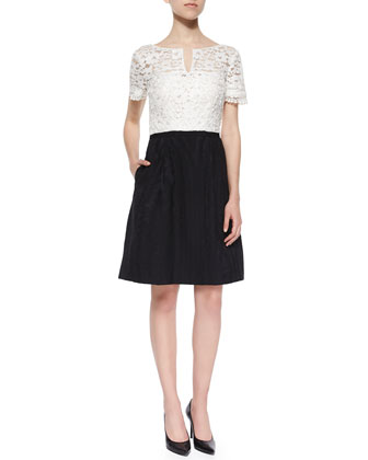 Short-Sleeve Lace-Top Jacquard Skirt Dress