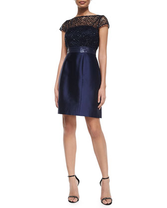 Short-Sleeve Lace Illusion Beaded-Waist Dress