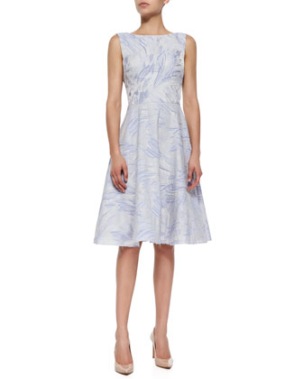Sleeveless Fit & Flare Jacquard Dress, Iris