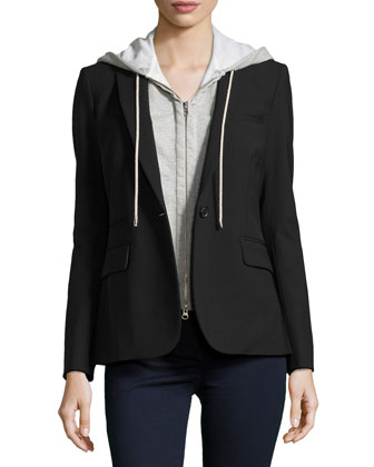 Classic Crepe Jacket with Hooded Dickey