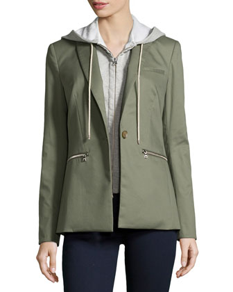 Cutaway Jacket with Knit Hooded Dickey