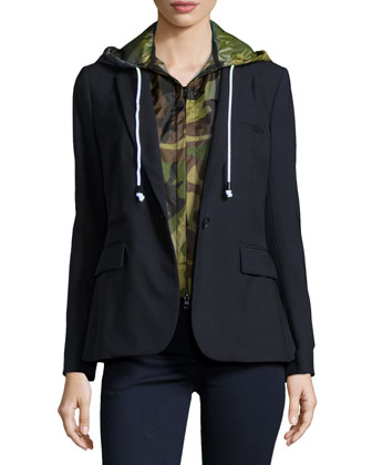 Classic Crepe Jacket with Camo Dickey