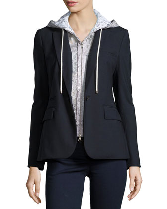 Classic Crepe Jacket with Lace Dickey