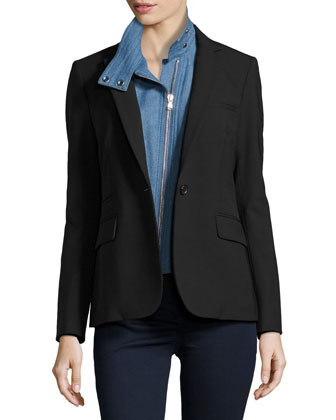 Classic Crepe Jacket with Denim Moto Dickey