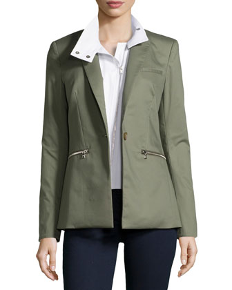 Cutaway Jacket with White Moto Dickey