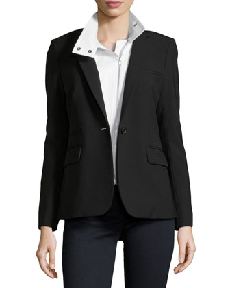 Classic Jacket with White Moto Dickey, Black