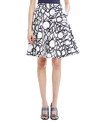 Asymmetric Cut-In Tank & Piper Illusion-Print Skirt