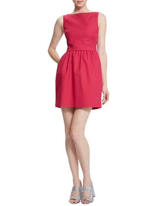Cara Cross-Back Dress, Pigment Red