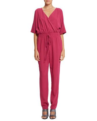 Remy Crepe Surplice Jumpsuit, Pigment Red