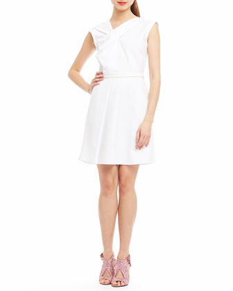 Drew Asymmetric-Front Dress, White