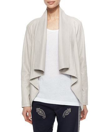 Long-Sleeve Draped-Front Jacket