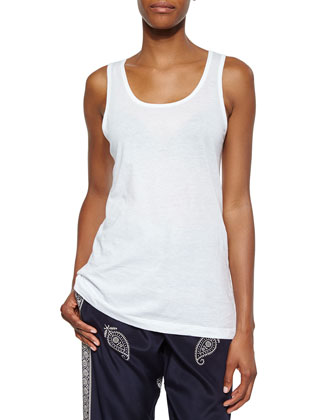 Scoop-Neck Jersey Tank, White