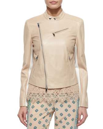 Mock-Collar Asymmetric-Zip Lambskin Moto Jacket
