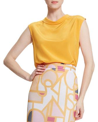 Eleanor Fold-Collar Silk Blouse