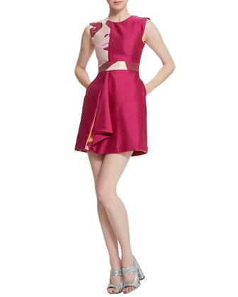 Raine Ruffle-Front Pop Art Dress, Pigment Red