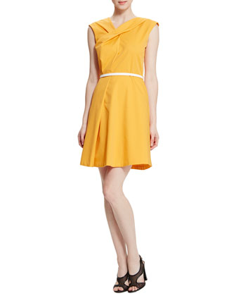 Draped & Belted Flare Dress, Turpentine