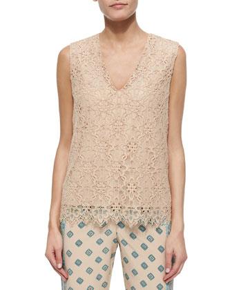 Sleeveless V-Neck Lace Shirt