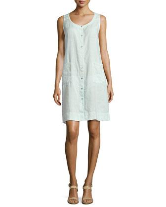 Sleeveless Organic Linen Dress, Aurora, Petite